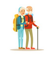 senior couple tourists traveling with backpacks vector image