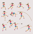 Sports Athletes Track and Field Women Set vector image