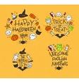 Halloween flat monograms mustard vector image