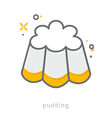 Thin line icons Pudding vector image