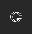 G letter logo monogram mockup elegant black and vector image