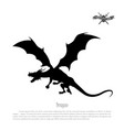 black silhouette of dragon on white background vector image