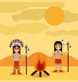 desert landscape and two native american indian vector image