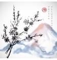 Sakura branches and Fujiyama mountain vector image