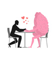 Lover in cafe Man and hot dog is sitting at table vector image