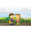 A young girl and a young boy at the wooden bridge vector image vector image