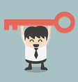 businessman is holding a key of success vector image