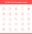 Set of Thin Line Stroke Document Icons vector image vector image