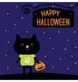 Black cat with Halloween pumpkin bucket Stars vector image