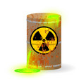chemical radioactive waste in a rusty barrel vector image