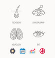 eye neurology brain and surgical lamp icons vector image