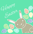 happy easter card with rabbit and eggs vector image