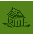 House sketch on green background vector image
