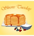 Pancakes with honey butter sour cream and vector image