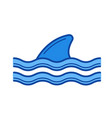 shark fin above water line icon vector image
