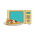 microwave oven with fast food vector image