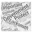Government Locksmiths Word Cloud Concept vector image