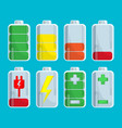 battery set with steps of charge isolated on blue vector image