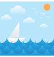 boat at sea wavessunsky and cloud vector image
