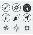 Navigation compass flat icons set vector image