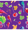 bird and fruits pattern vector image vector image