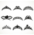 Set silhouettes of tiaras of various shapes vector