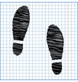 Imprint soles shoes icon with pen effect on paper vector image
