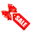 red bow with card sale vector image vector image