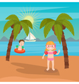 Children Sea Vacation Girls and Boys Playing vector image