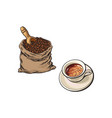 coffee beans bag and cup of coffee vector image