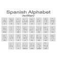 set of monochrome icons with spanish aphabet vector image