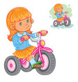 small girl ride tricycle vector image