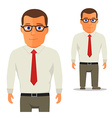 Man in White shirt with red tie Cartoon Character vector image