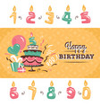 birthday greeting card with big cake vector image