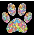 animal paw print on black background vector image