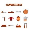 Lumberjack flat icon set vector image