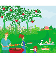 A of a family having a picnic vector image