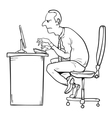 Bad sitting posture as the reason for office vector image