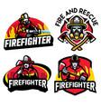 firefighter badge design set vector image