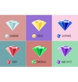 Jewel flat icon set with top view Gem stock vector image