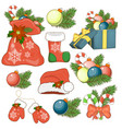 the icon of the nativity sticker set with gift box vector image
