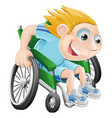 wheelchair racing cartoon man vector image
