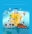 travel concept travel bag and different touristic vector image