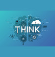thin line flat design banner for think web page vector image vector image