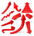Glossy red 3d arrows isolated on white set vector image