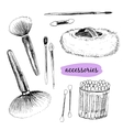 Makaup brushes and accessories vector image