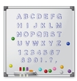 White board with colored markers and handrawn vector image vector image