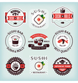Set of various sushi labels vector image vector image