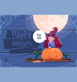 cute kid wear witch costume sit on pumpkin happy vector image