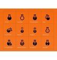 Science flask icons on orange background vector image